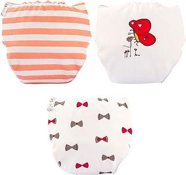 Cubierta de pañales de tela de algodón para bebés Aprendizaje de ropa interior impermeable, bragas para bebés que cambian pañal lavable transpirable, entrenamiento para ir al baño, 3 paquetes, A1, L: Amazon.es: