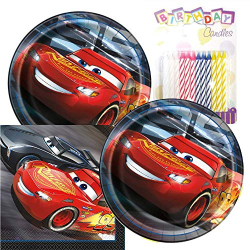Cars Themed Party Pack - Includes Paper Plates & Luncheon Napkins Plus 24 Birthday Candles - Servers 16 -