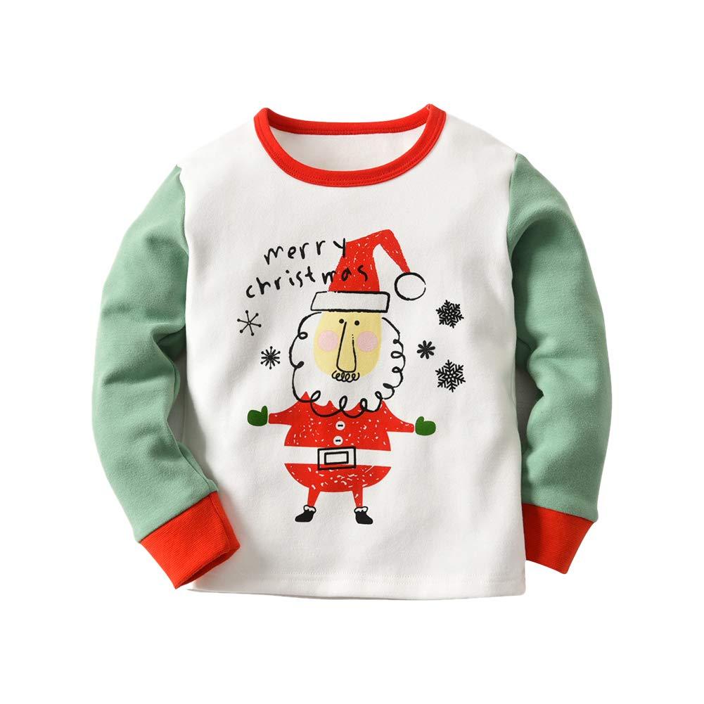 Deylaying Conjunto de Pijamas para Niños Pequeños - Manga Larga + Pantalones Ropa de Dormir para Niños Navidad Lijado Algodón Homewear Patrón de Santa Claus ...