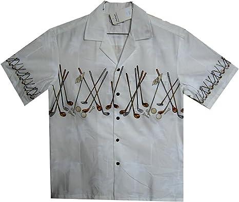Pacific Legend | Original Camisa Hawaiana | Caballeros | S - 4XL | Manga Corta | Bolsillo Delantero | Estampado Hawaiano | Club De Golf | Blanco: Amazon.es: Ropa y accesorios