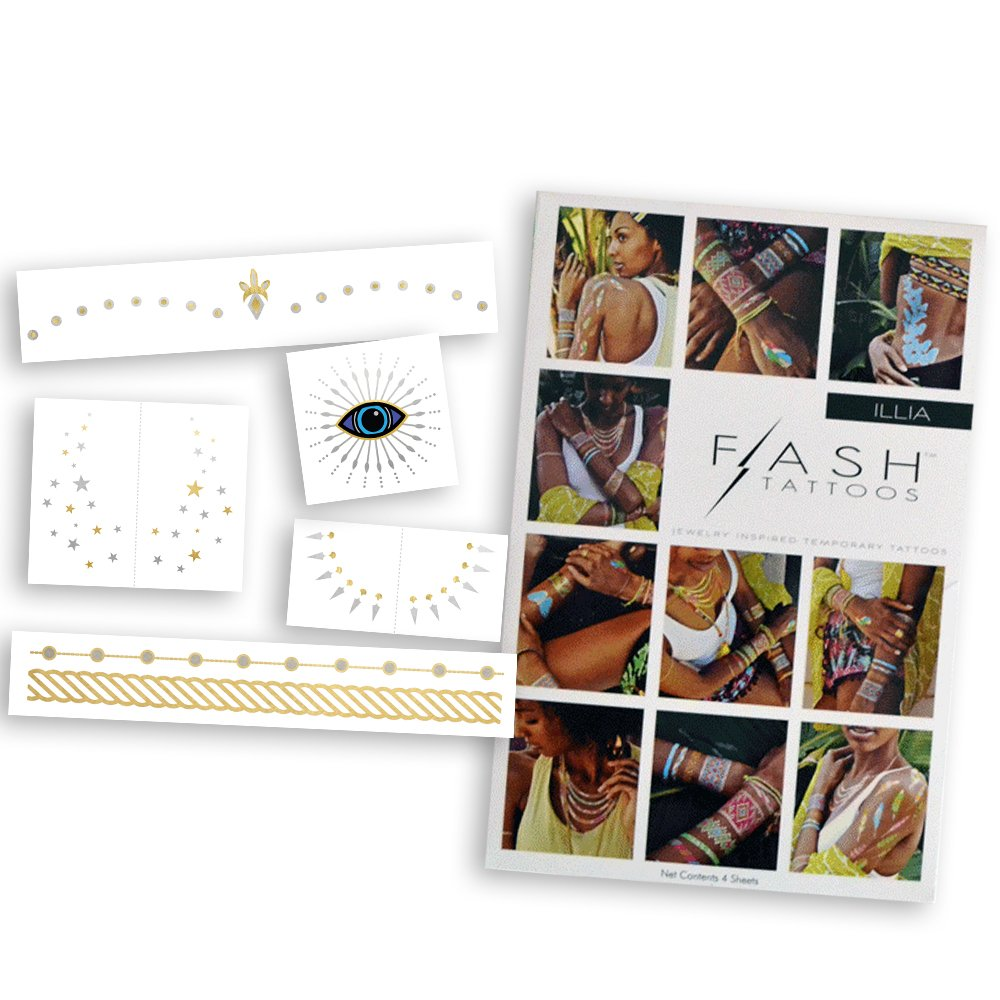 COLOR ME PRETTY BUNDLE includes Flash Tattoos festival-inspired Beautiful Eyes Variety Set (25 tats) and neon rainforest inspired Illia 4-sheet pack