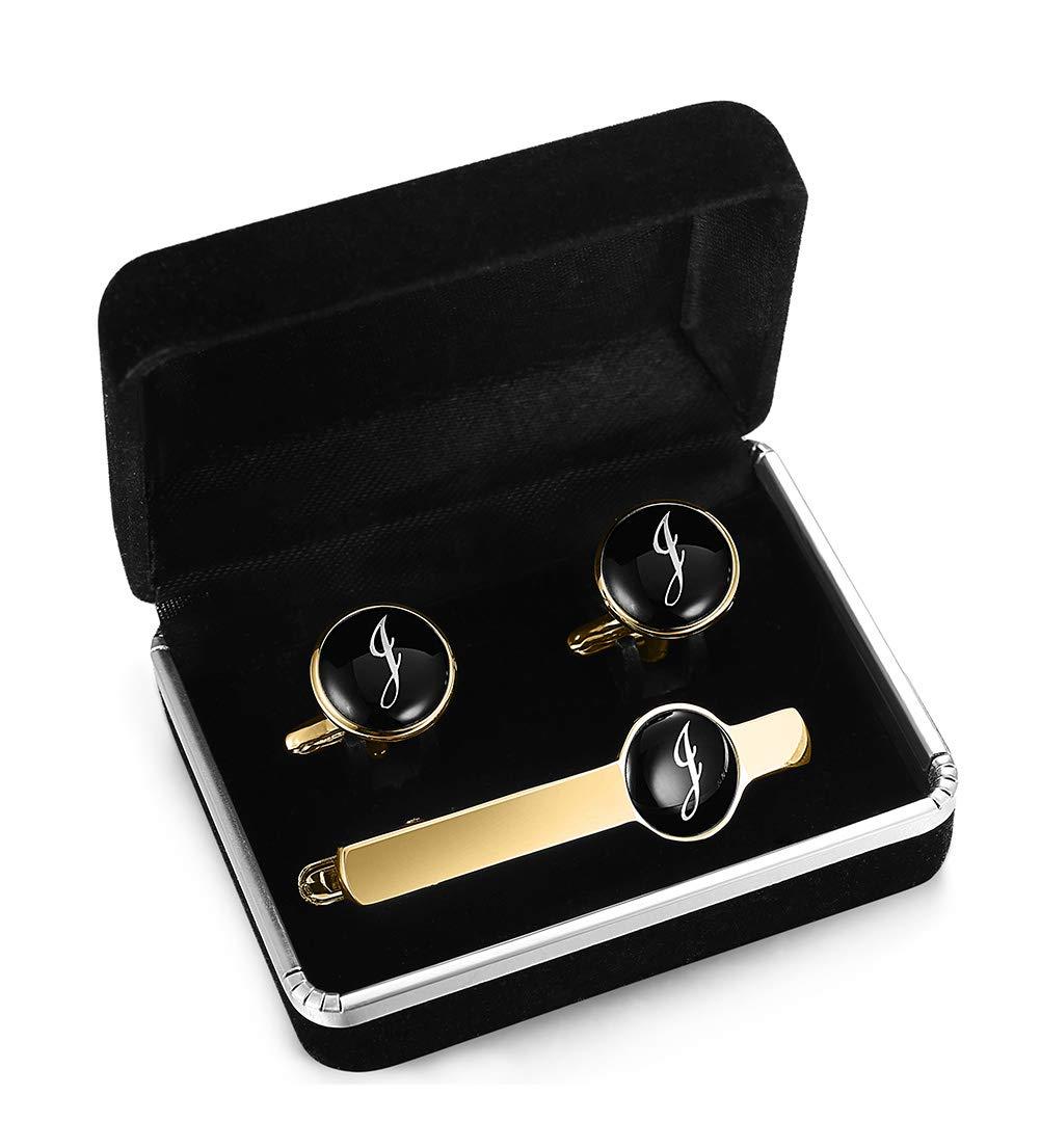 ORAZIO Engraved Tie Clip and Initial Cufflinks for Men Women Alphabet Letter J Cufflinks Tie Bar Set for Business Wedding Gold Tone