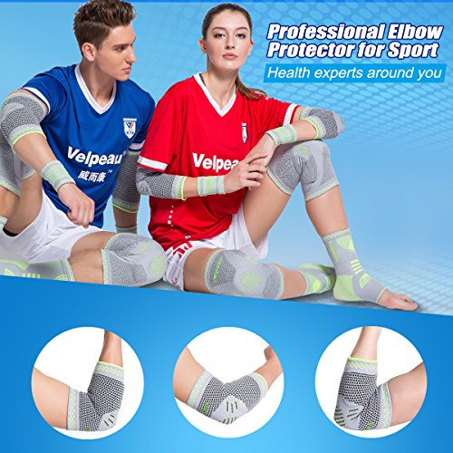 Elbow Brace Compression Sleeve with Gel Pads Support for Tendonitis, Tennis Elbow & Golf Elbow Treatment, Arthritis, Reduce Joint Pain During Any Activity for Women & Men by Velpeau (Large) by Velpeau (Image #5)