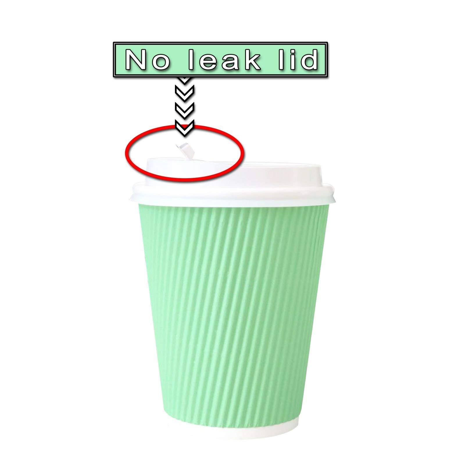 60 Pack -12 oz Premium Quality Disposable Hot Paper Coffee Cups With Lids - Ripple Wall With Insulation For Heat Protection,No Leak Lid,No Sleeves Needed,Perfect To Go,Office,Bars,Parties & Travel by FarSmart (Image #3)