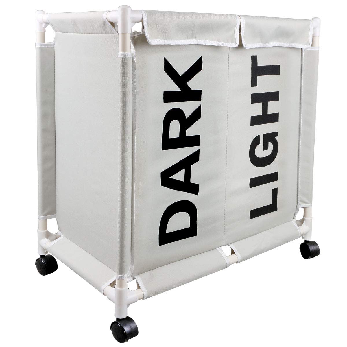 大型ローリングランドリーバスケットホイール ランドリーソーターカート 丈夫 汚れた衣類バッグ 折りたたみ可能 長方形 洗濯物収納容器 グレー B07RZ7MBVX グレー