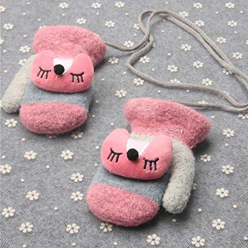 Digood Toddler Newborn Baby Girls Boys Cute Fox Mittens With Line String Thick Winter Warm Gloves