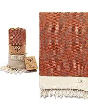 Smyrna Vintage Series Original Turkish Beach Towel   100% Cotton, Prewashed, 37 x 71 Inches   Turkish Bath Towel for SPA, Beach, Pool, Gym and Bathroom (Orange)