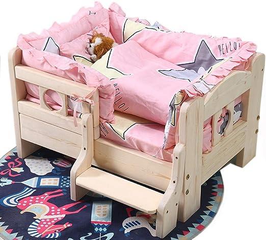 OLDWANG - Cama pequeña para Perros de Madera para Interiores, Cama para Animales de Madera, caseta con Forma de caseta para Perro, Escalera para Perros, fácil de Arrastrar a la Cama: Amazon.es: