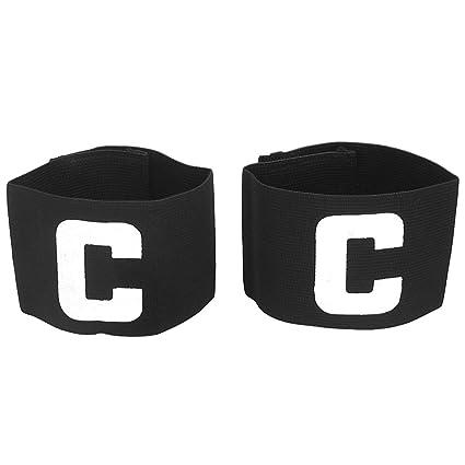 R TOOGOO Hook Loop Closure Stretchy Team Tension Captain Armband 2pcs Black