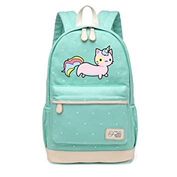 Amazon.com: Cat Lovely Cute Canvas Bag Flowers Wave Point Rucksacks Backpack Travel Shoulder Bag: Beauty Nail Shop