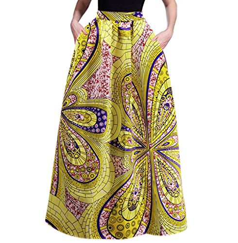 RARITY-US Women's Beach Maxi Skirt African Floral Glamorous Pleated High Waist Casual Boho Two Kinds of Styles Choice (Two Pocket Skirt)