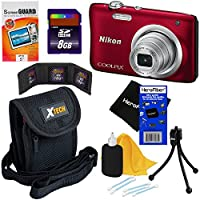 Nikon COOLPIX A100 20.1 MP Digital Camera with 5x Zoom NIKKOR Lens & 720p HD Video (Red) - International Version (No Warranty) + 7pc 8GB Accessory Kit w/ HeroFiber Ultra Gentle Cleaning Cloth