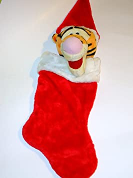disney tigrou chaussette de nol en peluche tte chapeau de pre nol winnie the pooh - Chaussette De Noel Disney