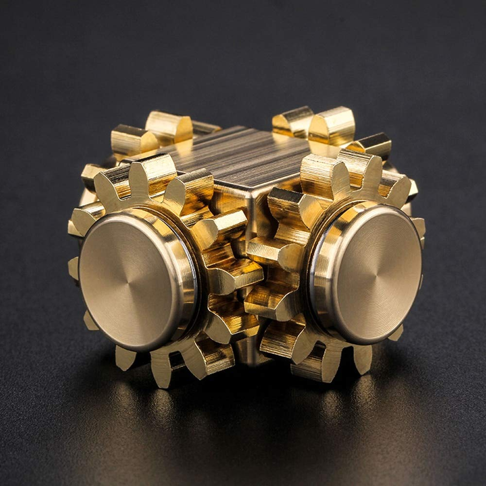 The Gear Cube - A Fully Modular Metal Crafted Brass Desk Toy for Fidgeting and EDC (Fidget Cube Spinner) by The Gear Cube (Image #2)