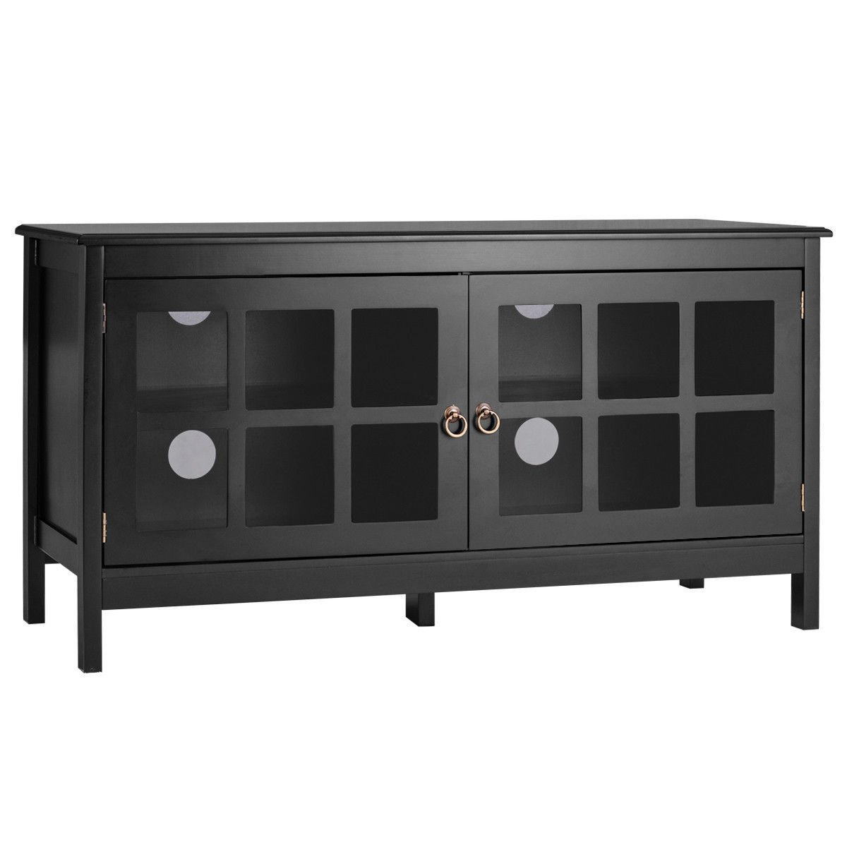 "TV Stand 50"" with 2 Doors Modern Storage Console Entertainment Center Wood Black by Iramaix"