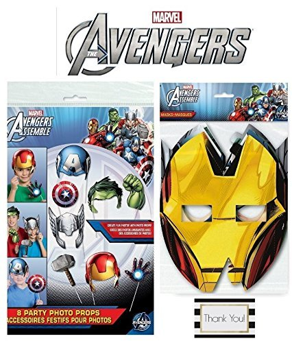 Avengers 8 ct Party Masks and 8 ct Photo Booth Props by Unknown