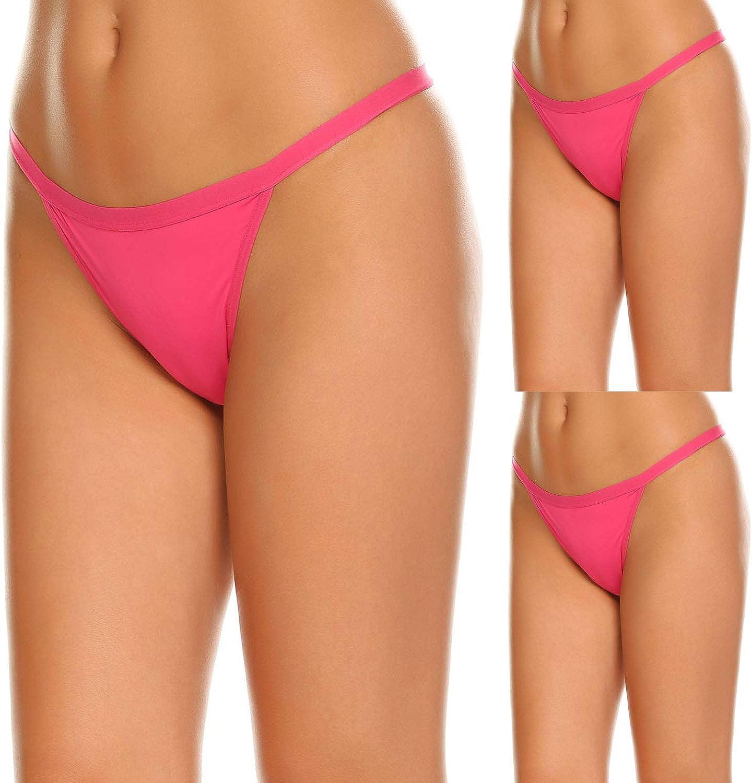 Ekouaer Underwear Womens 3 Pack Low-Rise String Bikinis Panty Stretch Brief Cotton Spandex Thongs Underwear G-Strings