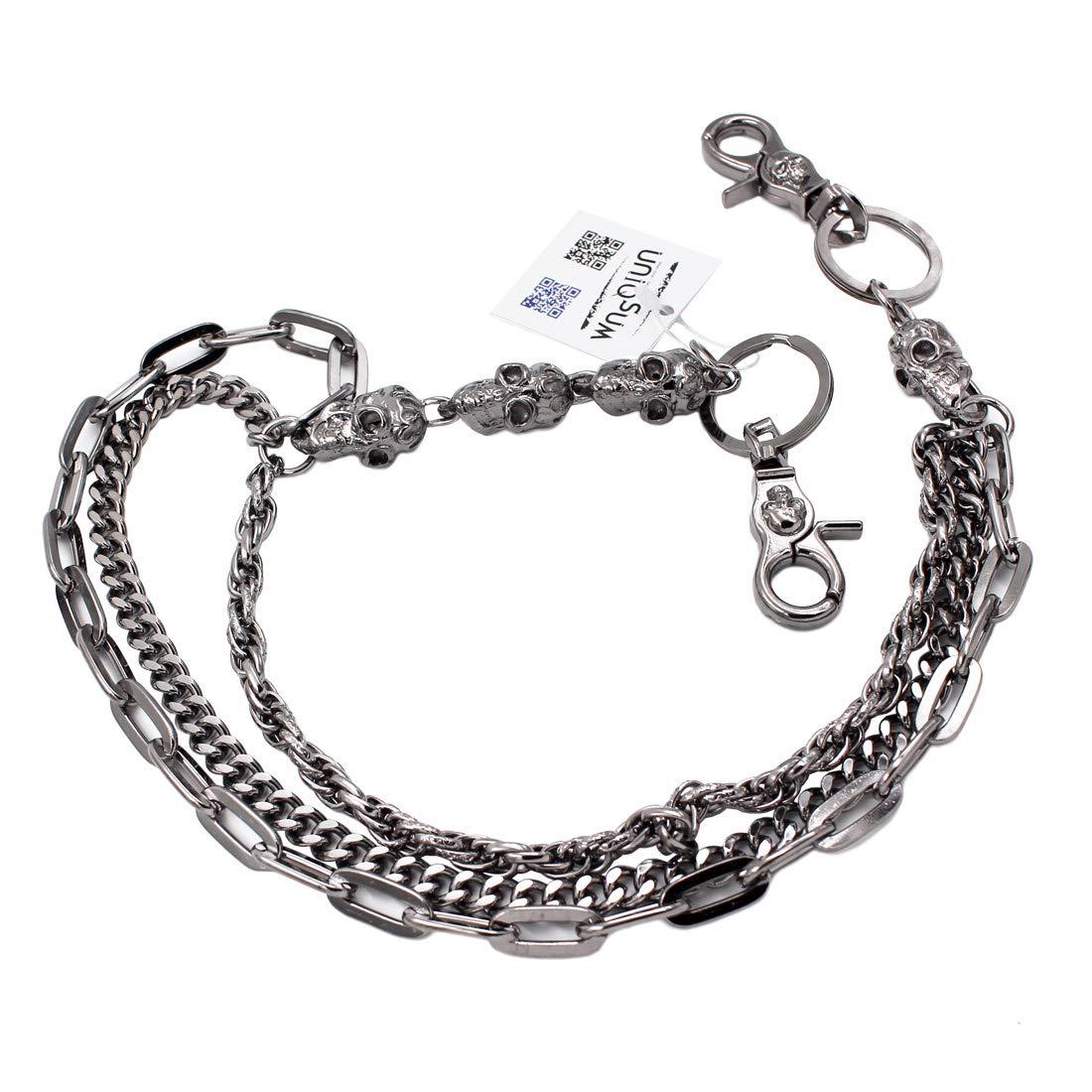 f5fc7a488aa0 Uniqsum Fire Skull charm Triple links wallet chain Biker Key chains