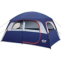 CAMPROS Tent-6-Person-Camping-Tents, Waterproof Windproof Family Tent with Top Rainfly, 4 Large Mesh Windows, Double…