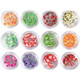 BinaryABC 3D Fruit Slices Nail Art Decorations Supplies Slime Slices(Fruit Style Random)