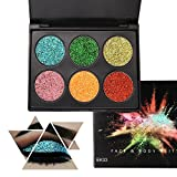 6 Color Glitter Makeup Eyeshadow Palette, KRABICE Professional Metallic Shimmer Tattoos Cosmetic Body Face Sparking Pigment Textured Eye Shadow Bearuty Makeup Festival Decoration for Hair Nails - #3