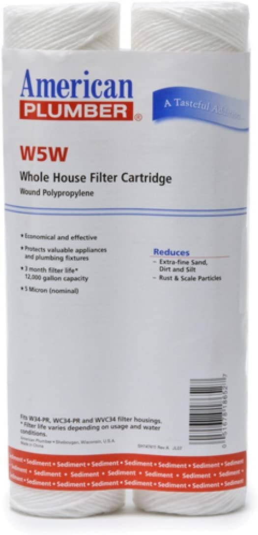 American Plumber W5W Wound Whole House Sediment Filter Cartridge 5 Micron Well Pump Irrigation 10