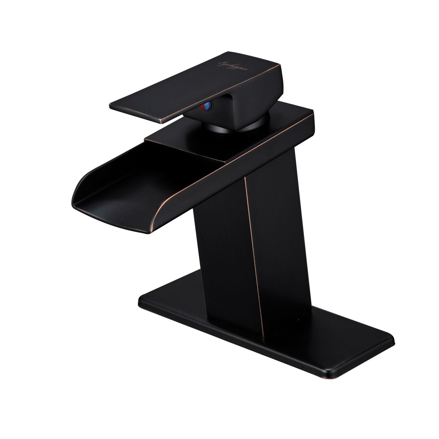 BWE Oil Rubbed Bronze Waterfall Bathroom Faucet Single Handle One Hole Deck Mount Lavatory