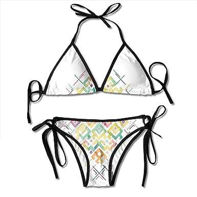 50c579404a7 Women's Tie Side Bottom Padding Triangle Bikini Swimsuits,Watercolors Ethnic  Tribal Pattern Zigzag Asian Roots