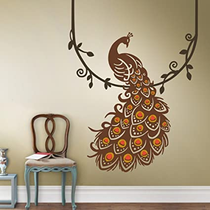 Amazoncom Vinyl Peacock Wall Decal Animal Wall Decal Bird Wall
