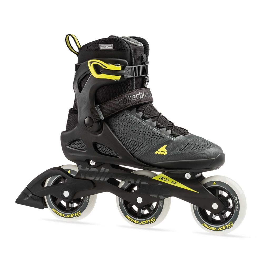 Rollerblade Macroblade 100 3Wd Men's Adult Fitness Inline Skate, Anthracite/Neon Yellow, Medium 7