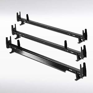 Autozensation 3-Bar Universal SUV Van Black Steel Top Roof Rack Cross Cargo Carrier Ladder