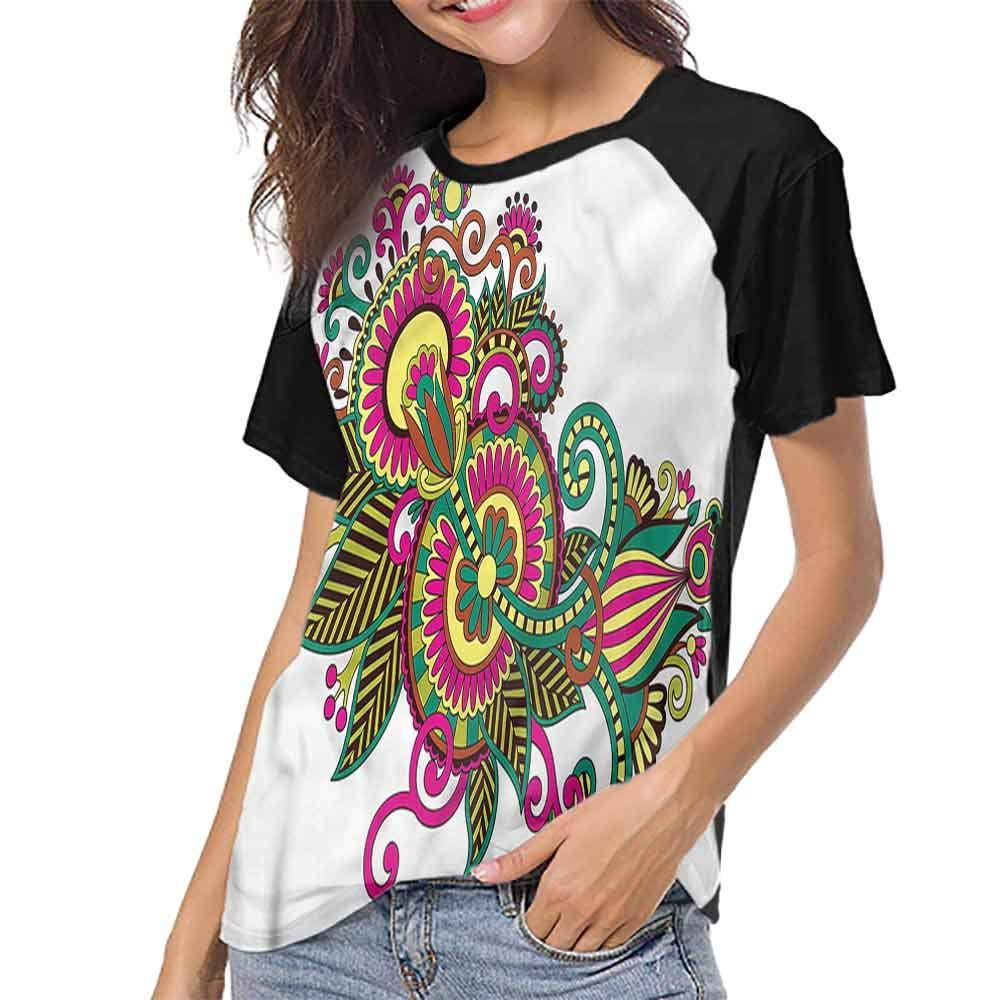 Men Print Tees,Henna,Ornamental Line Artwork S-XXL O Neck T Shirt Female Tee