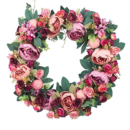 Door Decor Artificial Wreath, Holidays Decoration Artificial Flower Wreath for Front Door (Spring Door Wreaths Sale)