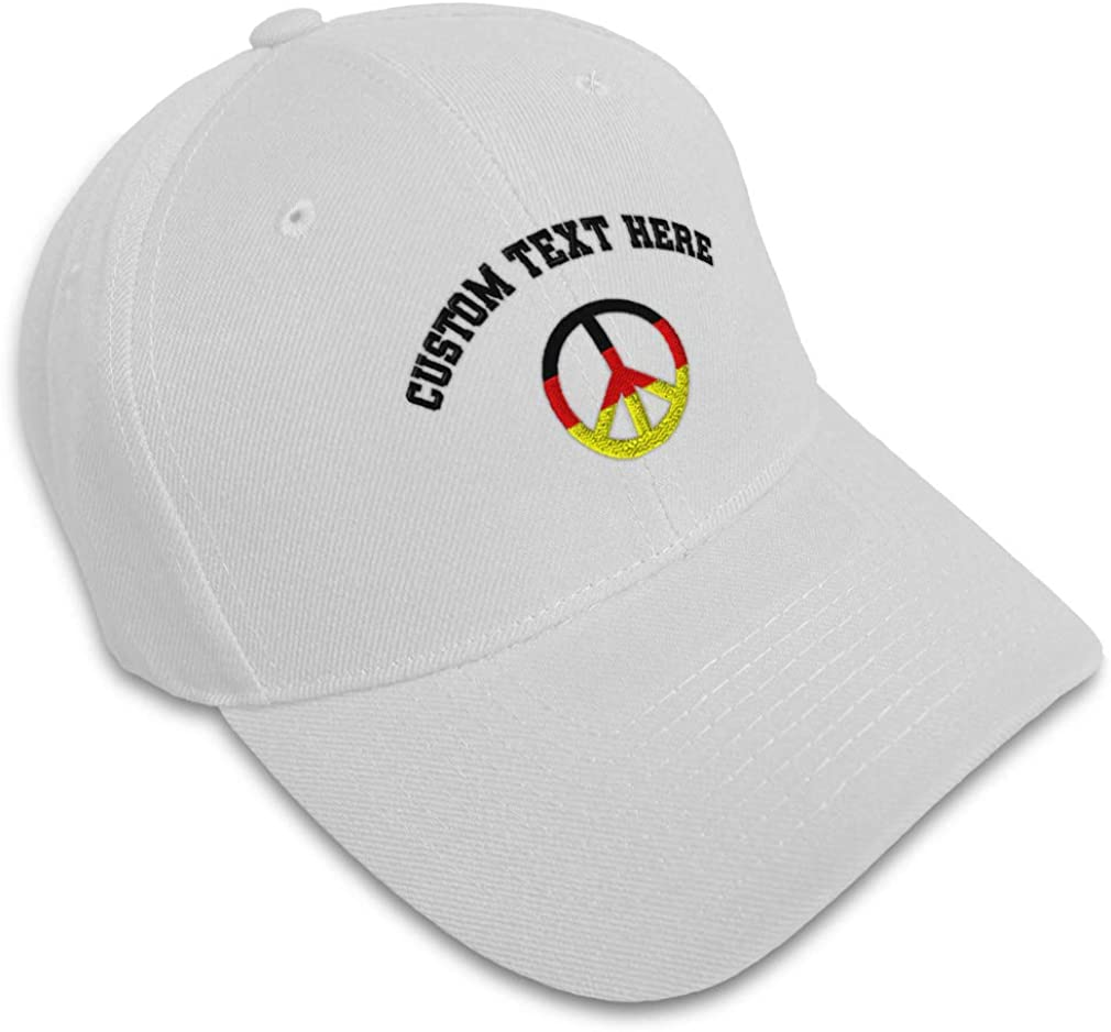Custom Baseball Cap Germany Flag Peace Shaped Embroidery Acrylic Strap Closure