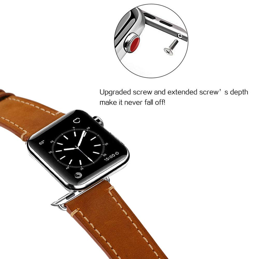 Compatible Apple Watch Band 42mm Mkeke Genuine Leather iWatch Bands Vintage Brown by Mkeke (Image #3)