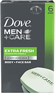 Dove Men+Care Body and Face Bar Extra Fresh 4 oz, 6 Bar (Pack of 2)