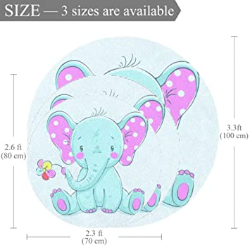 Carpet Baby Elephant Blue Nursery Round Rug for Kids Room Soft and Smooth Suede Surface Non-Slip Castle Tent Game mat Best Gift for Your Kids 2feet 3.5inch