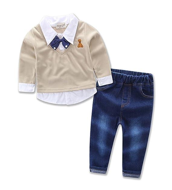 Amazon.com: 2 Pcs bebé Boys lazo camisa Tops + Denim ...