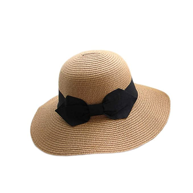c00545b1cca Image Unavailable. Image not available for. Color  Sun Hat Wide Brim Straw  Hat Summer Bowknot Floppy Travel Fedora Sun Protective for Women Khaki