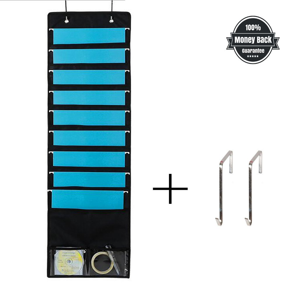 Storage Pocket Chart Hanging Wall File Organizer Filing Holder Classroom Office or Home, Organize Your Assignments, Files, Scrapbook Papers & More 9 Pockets (Black)