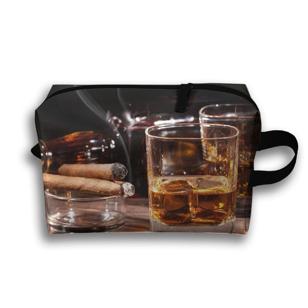 Wine Glass Smoke Cosmetic Bags Makeup Organizer Bag Pouch Zipper Purse Handbag Clutch Bag