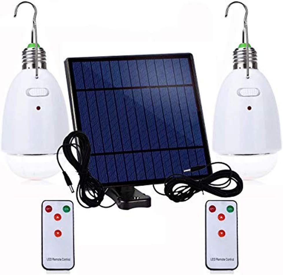 Multi-Functional LED Solar Light E27 12-LED Dimmable Lamp with Remote Controller for Camping, Hiking, Home Lighting, Emergency, Garden Energy Saving (2 Pack,White)