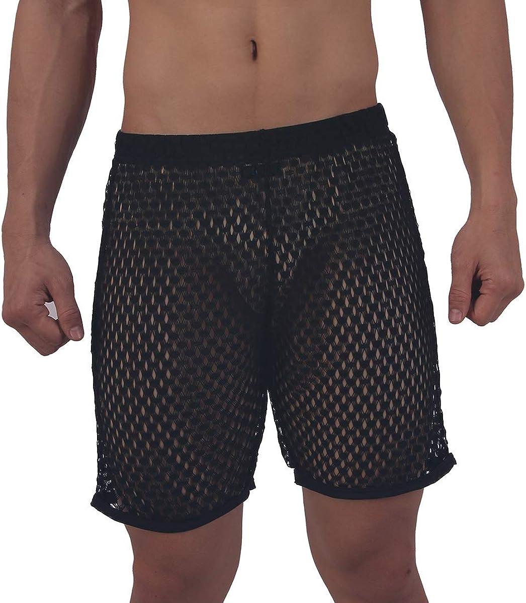 Sissy Mens Mesh Sheer See Through Boxer Briefs Trunks Underwear Swimming Shorts