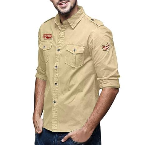 Camisas hombre Hombres de solapa de algodón Casual Vestido de manga larga camisa Sección de invierno