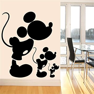 Mickey Mouse Wall Art Decal Sticker Cute Vinyl Wall Decal Black Mickey Mouse Wall Stickers for Baby Room Nursery Wall Sticker Home: Home & Kitchen