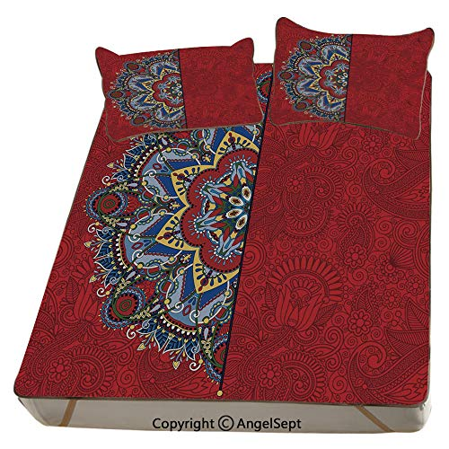Homenon Red,Summer Cooling Mat 3D Printing Foldable Folding Summer Ice Silk Cover Cool Mat with Pillowcase(Queen) Ukranian Ethnic Design Half with Swirls and Flowers Image Decorative ()