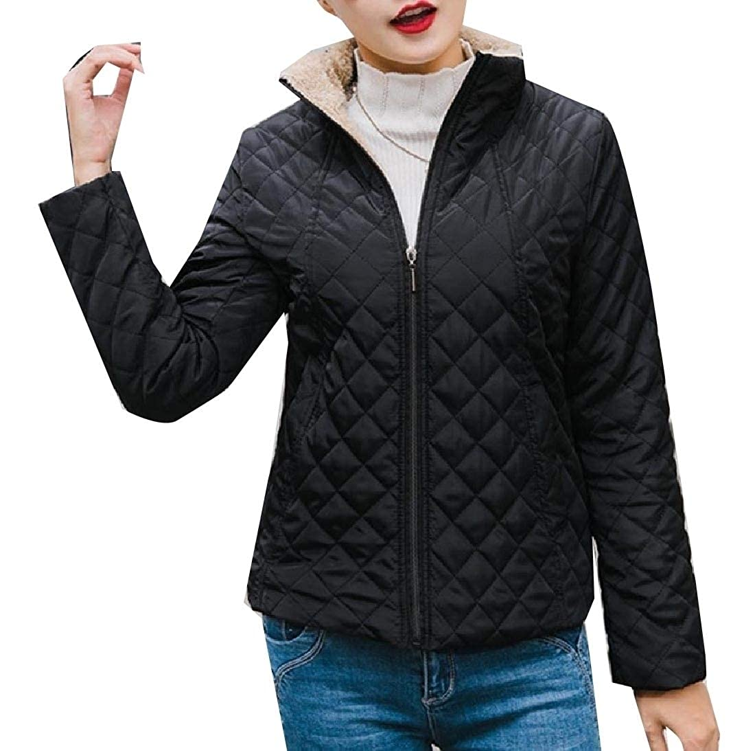 YUNY Womens Plus Velvet Quilted Outerwear Winter Coat Puffer Jacket Black XL