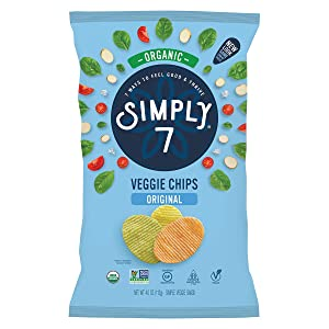 Simply 7 Organic Veggie Chips - Made from Real Organic Vegetables - Non-GMO, Gluten Free, Vegetarian, Vegan, Plant-Based, Cholesterol Free, Kosher, Sugar Free - Original, 4 Ounce Bag (Pack of 12)
