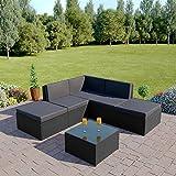 Abreo Rattan Modular Corner Sofa Set Garden Conservatory Furniture 6 Pieces The Lake Como (Black With Dark Cushions)