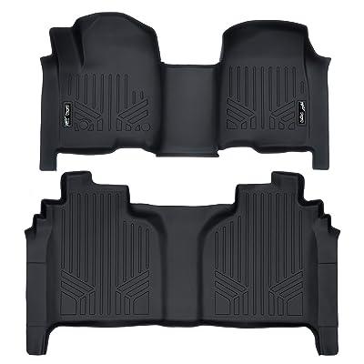 MAXLINER Floor Mats 2 Row Liner Set Black for 2020 Silverado/Sierra 1500 Crew Cab with 1st Row Bench or Bucket Seats: Automotive